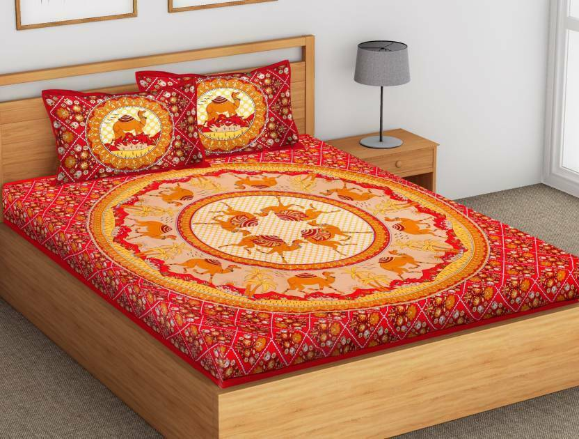 Traditional Red Camel Printed Cotton Bed Spread Bed Sheet With 2 Pillow