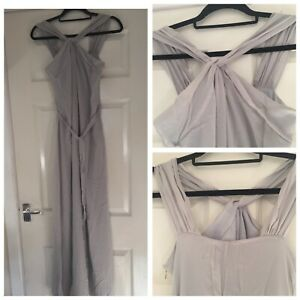 ARMANI-EXCHANGE-Light-Grey-100-Silk-Maxi-Dress-Occasion-Size-US-0-UK-4-6