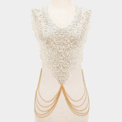 "26"" gold off white choker collar bib necklace paisley body chain lace"