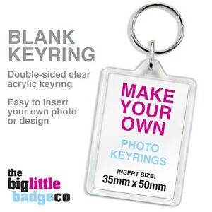 BLANK-ACRYLIC-KEYRING-50mm-x-35mm-Make-your-own-photo-keyring-Gift-Custom