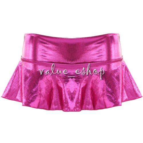 Women/'s Lingerie Metallic Short Shiny Dance Micro Mini Skirt G-string Clubwear