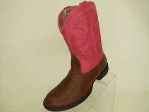 Roper-Brand-Brown-Pink-Faux-Leather-Light-Up-Cowboy-Boots-Youth-Sz-3-M