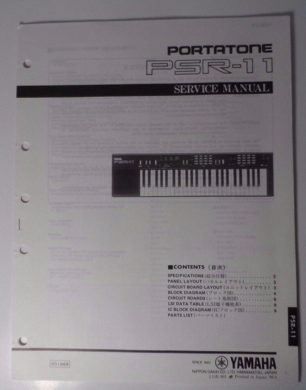 Yamaha Psr-11 Portatone Electronic Keyboard Synthesizer Instrument ...