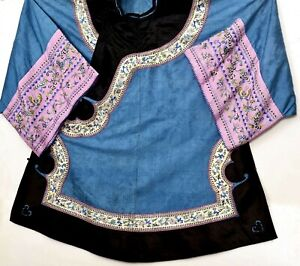 1900's Chinese Blue Silk Gauze Embroidery Lady's Robe Summer Butterfly & Bird