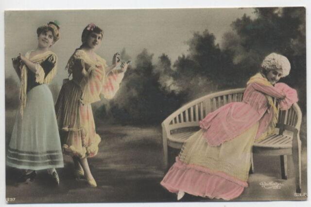 T2720  MULTIPLE  WOMEN  TIPTOE DANCING  BY  REUTLINGER  RPPC