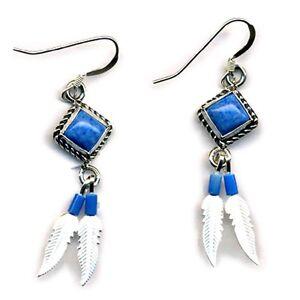 Genuine-Lapis-Lasuli-Sterling-Silver-Feather-Dangle-Earrings-Beaded-Native