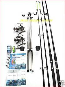 Sea-Fishing-Kit-Set-Shakespeare-10ft-2-Rod-2-Reel-Tripod-Tackle-Beachcasters