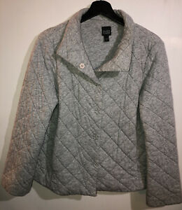 Eileen-Fisher-Women-039-s-Jacket-Size-Small-Gray-Quilted-Puff-Front-Button-Snaps