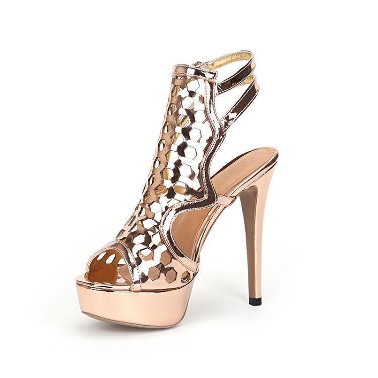 Para mujer Tacones Altos Charol Sandalias De Plataforma súper Peep Toe Zapatos De Calado