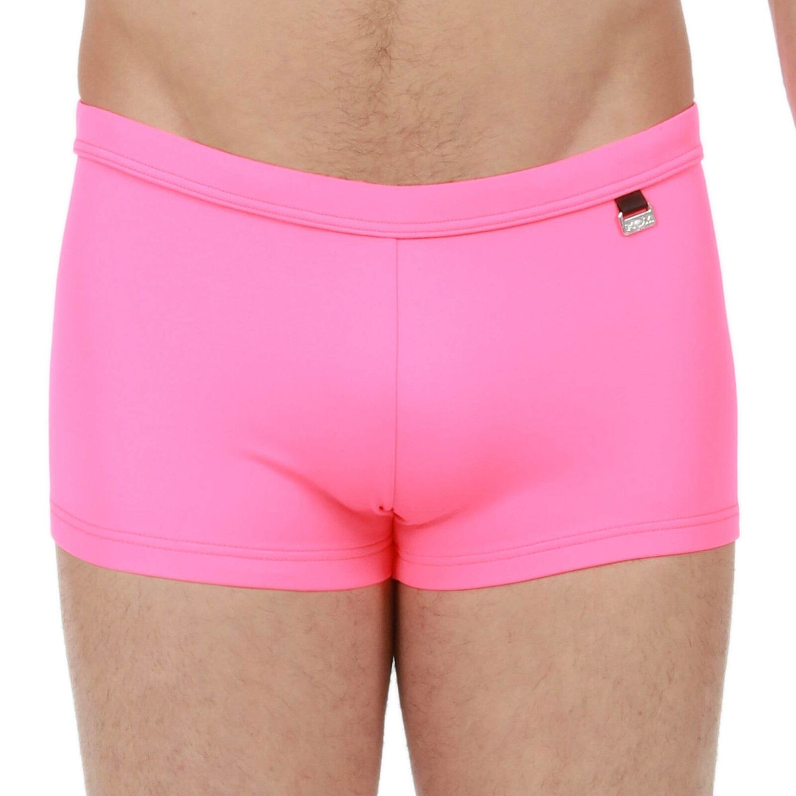 HOM Men's Splash Swim Shorts, Trunks. Pink Swimwear with Inside Flat Drawstring
