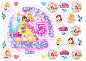 EDIBLE Personalised DISNEY PRINCESS Aurora Belle Cinderella Cake