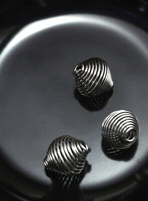 Stainless Steel Lot of 20 6mm x 3mm Silver Ridged Bicone Spacer Beads Hole 2.5