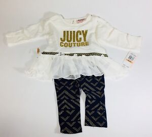 NWT JUICY COUTURE Baby girl outfit 12 Months  60 Gold Blue Leggings ... ba71d8574