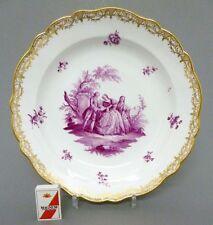 Großer Meissen Teller qualitätvolle Watteau Malerei in purpur, D=30,5 cm
