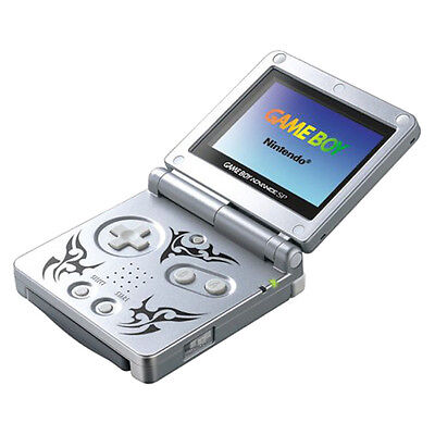 Game Boy Advance SP Tribal Edition Silver Handheld System Very Good Condition