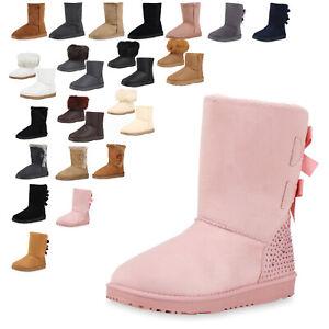 Damen-Stiefeletten-Schlupfstiefel-Warm-Gefutterte-Winter-Boots-Strass-94767-Top