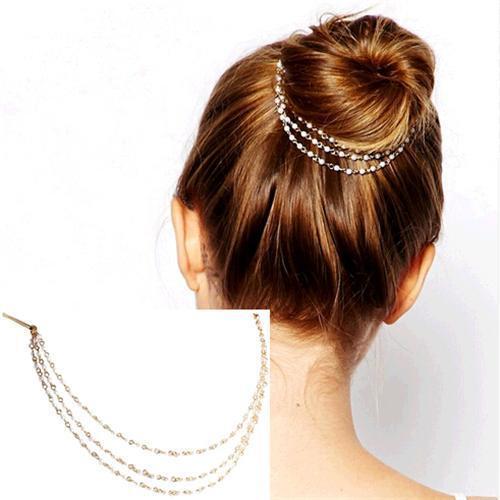 Fashion Femmes Lady Pearl Chain Tassel Head Bijoux Pince à cheveux épingle à cheveux Bandeau