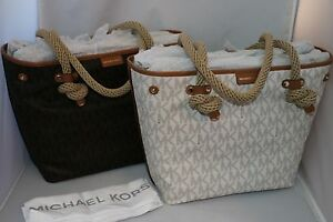 6efd88308f93 Michael Kors MK Signature Maritime Rope-Handle Medium Beach Tote Bag ...