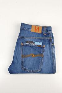 32962 Nudie Jeans Slim Jim Used Electric Indigo Bleu Hommes Jean Taille 34/32