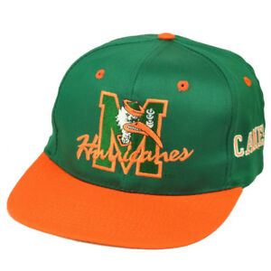 NCAA-Miami-Hurricanes-Canes-Old-School-Vintage-Deadstock-Snapback-Hat-Cap-Green