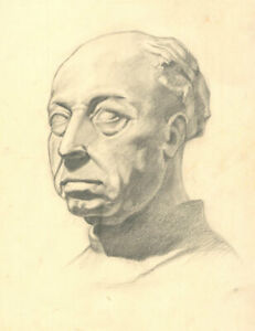 Early 20th Century Graphite Drawing - Study of a Male Statue