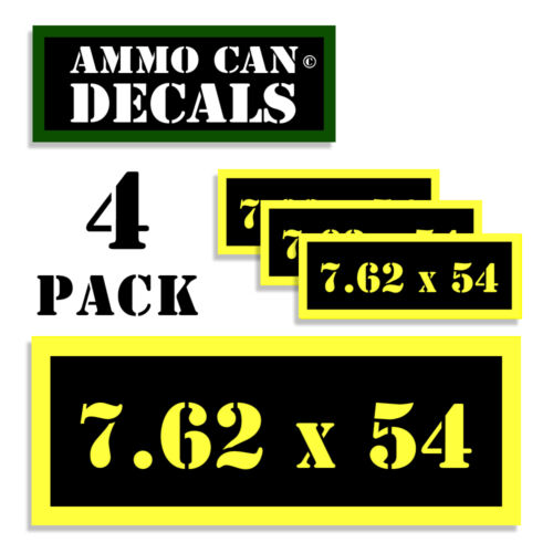 7.62 X 54 Ammo Can Label 4x Ammunition Case stickers decals 4 pack YW MINI 1.5in