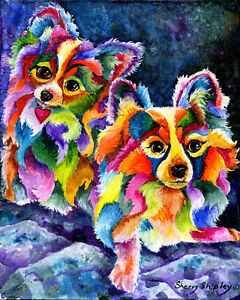 PAPILLON-PAIR-8X10-DOG-Colorful-Print-from-Artist-Sherry-Shipley