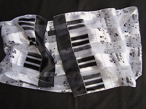 "PIANO & Staff MUSIC Scarf 58"" x 12"" Wear as Belt/Shawl/Around Neck Brand NEW"