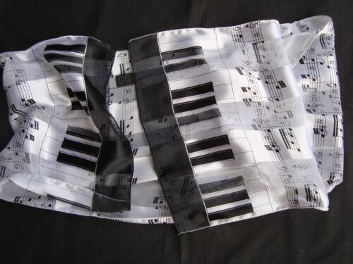 "PIANO /& Staff MUSIC Scarf 58/"" x 12/"" Wear as Belt//Shawl//Around Neck Brand NEW"