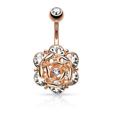 ROSE GOLD Plated Gem Flower BELLY Button NAVEL Bar RINGS Stud Piercing Jewelry