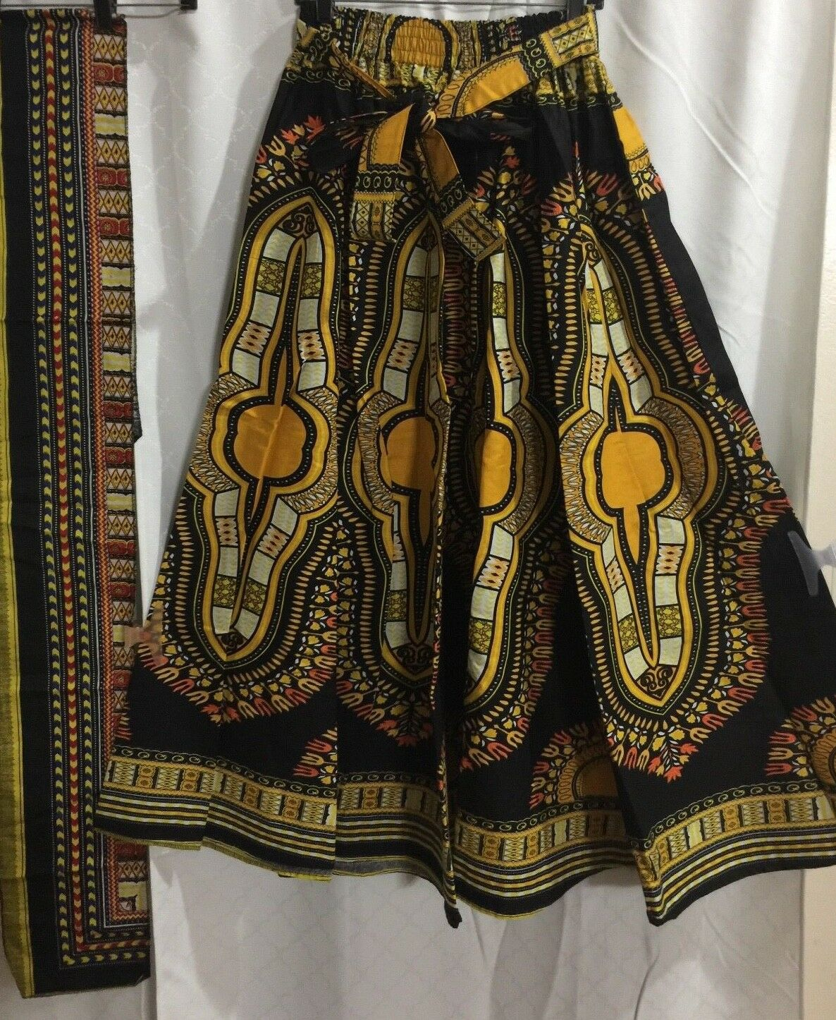 Yoachy Collections, Dashiki Women flare long  Skirt with Free Scarf One Size