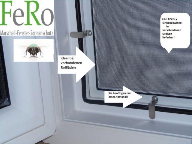 Fliegengitter-Fenster-Mücken- Insektenschutz- Alu-Rahmen weiss + 8 Montagewinkel