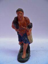PRESEPE PRESEPIO vecchia statuina cartapesta cacciatore oca selvaggina cm 8