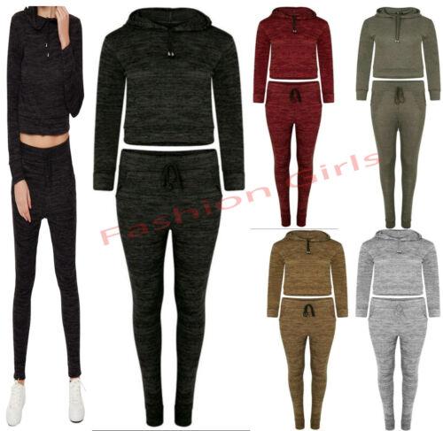 Women/'s Ladies Hoodie Crop Top Jogging Bottoms Tracksuit Ladies Lounge Wear Set