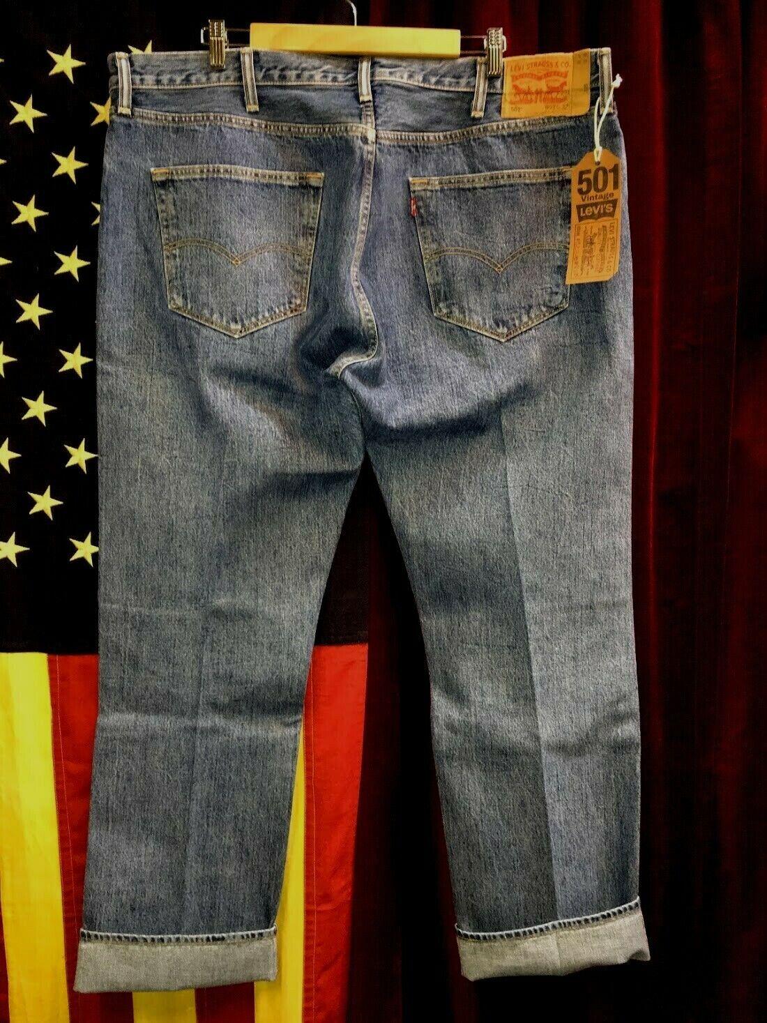 Levi's 501 Jeans Distressed Faded Denim W42 L34 8… - image 2