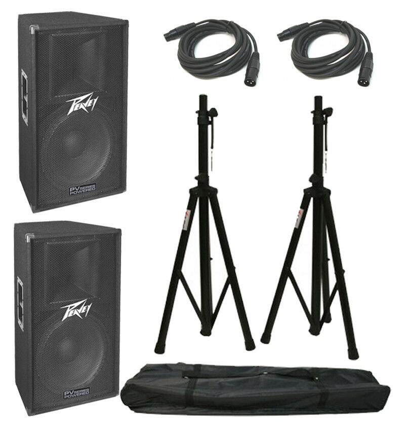 (2) Peavey Pv115D Pro DJ Powerot 400 Watt 15  Speakers W  Xlr Cables & Stands