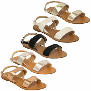 Ladies Flat Sandals Womens Open Toe Double Strap Buckle Casual Fashion Summer