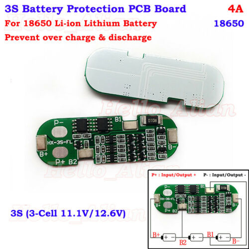 3S 4A 18650 Li-ion Lithium Battery Cell Charger BMS Protection Board 11.1V 12.6V