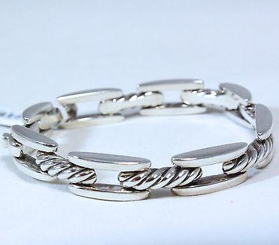 "David Yurman Men's Wide Cable Link Chairman Bracelet Silver 8.5"" $850 NWT"