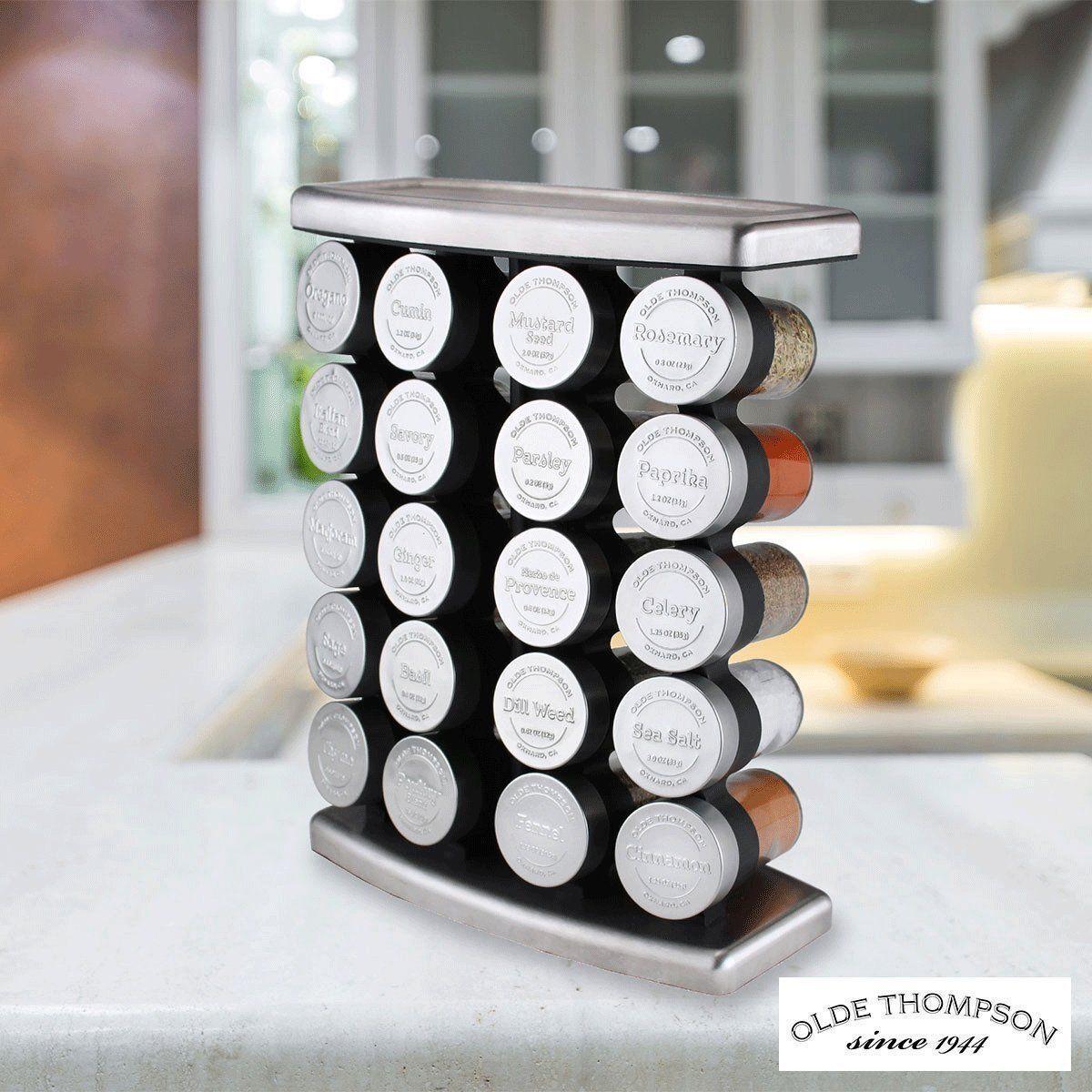 Olde Thompson en acier inoxydable 20 Bocal étagère à épices avec épices BRAND NEW FREE p&p