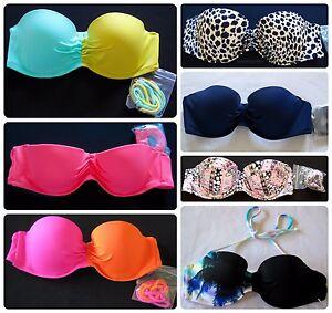 Victoria-s-Secret-VS-Flirt-Bandeau-Bikini-Top-Halter-Swimsuit-Swim-Suit-Push-Up
