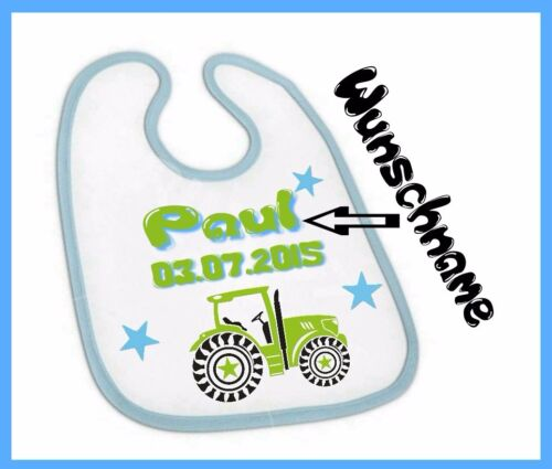 Bébé bavoirs avec Désir-Nom et Date de naissance tracteur pour garçons