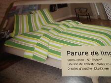 """parure de lit housse de couette + taies 2 personnes """"rayures vertes"""" - neuve"""