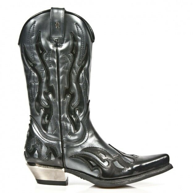 Newrock 7921 B C 1 New Rock Silver Black Leather Man Western Snake Cowboy Boots