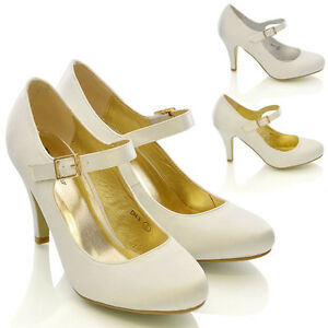Womens Bridal Stiletto White Ivory Satin Ladies Heels Wedding Bridesmaid Shoe