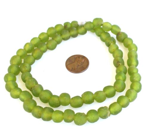 Ghana African Transparent olive Recycled glass trade beads