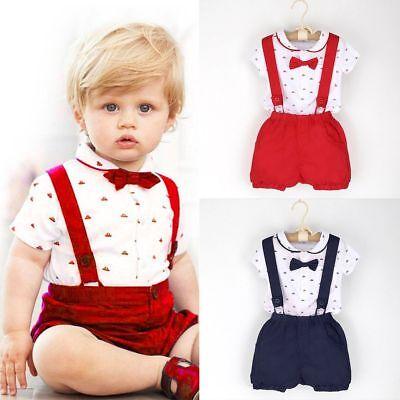 UK 2Pcs Newborn Kid Boy Gentleman Outfit Shirt Top+Bib Pants Jumpsuit Summer Set