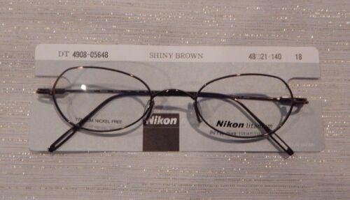 Nikon DT 4908 Shiny Brown 48//21 Unisex Titanium Eyeglass Frame New