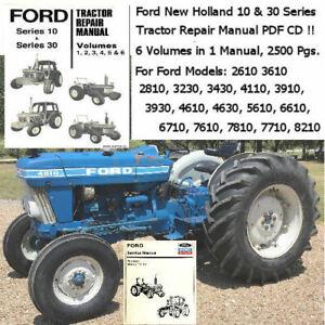 Ford Tractor, Series 10 Series 30 Service Manuals 2610 thru 8210, 6 volumes  1 CD | eBay