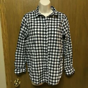 a770254c26cd1 J CREW NAVY BLUE Gingham Shirt Size M PETITE Boy Fit Button Down ...